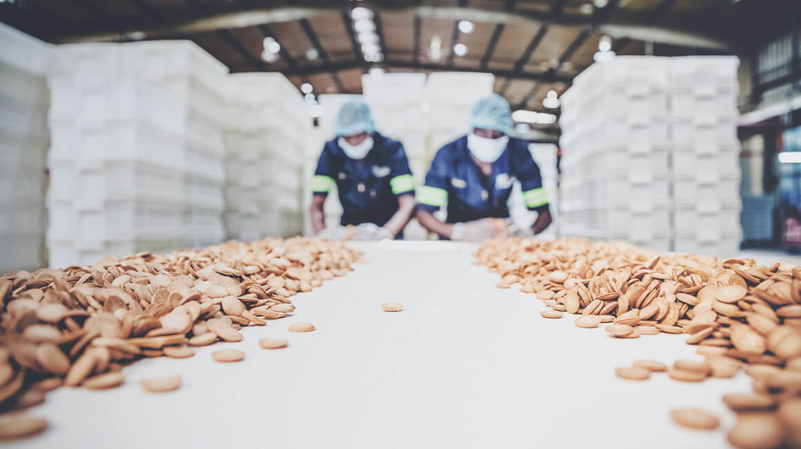 two food manufacturing workers in tyson food plant