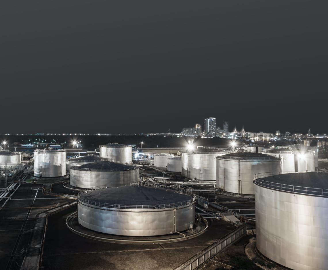 Oil Refinery and Fuel Storage Tanks at night