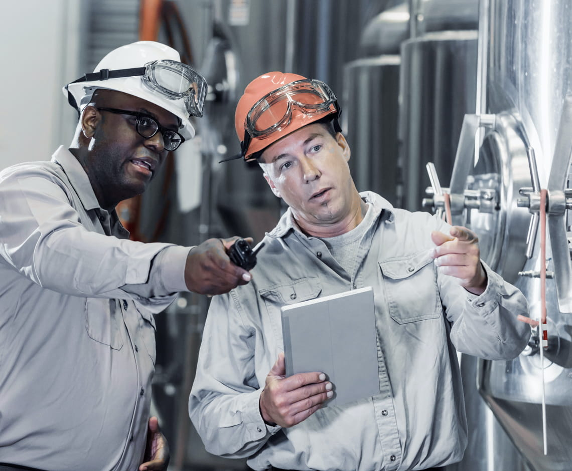 two workers in plant wearing hard hats
