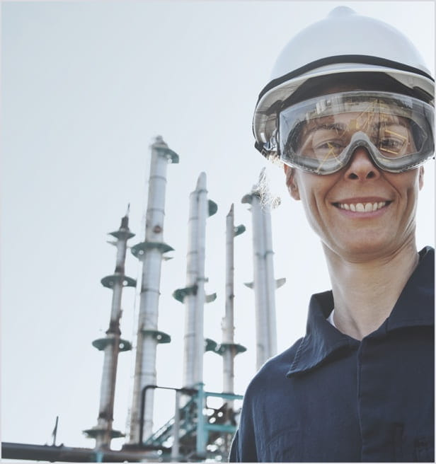 Oil & gas worker with hard hat